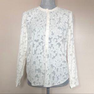 Rebecca Taylor cream silk blend sheer lace blouse